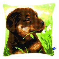 Rottweiler Pup Chunky Cross Stitch Cushion Front Kit 40x40cm
