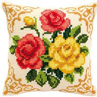 Mixed Roses. Vervaco Chunky Cross Stitch Cushion Front Kit