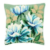 Japanese Anemones Vervaco Chunky Cross Stitch Cushion Front Kit
