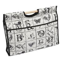 Knitting & Sewing Bag with Wooden Handles - Alphabet