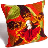 Tiger Orchid Design Chunky Cross Stitch Cushion Front Kit