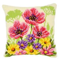 Flower Field With Poppies Chunky Cross Stitch cushion front Tape