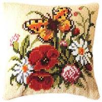 Butterfly on a Posy Chunky Cross Stitch Cushion Front  Kit Verva