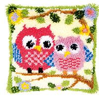 Cartoon Owls Latch Hook Cushion Front Kit 40x40cm