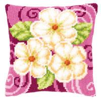 Three Camelias Chunky Cross Stitch cushion front Tape