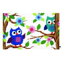 Owl Talk, chunky Cross Stitch Rug Making Kit 75x50cm