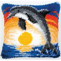 Dolphin Sunset Latch Hook Cushion Front kit 40x40cm