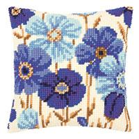 Anemones In Blue Chunky Cross Stitch Cushion Front Tapestry Kit