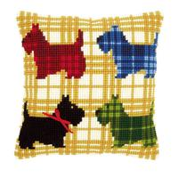 Chunky Cross Stitch cushion Front Kit - Scottie Dogs