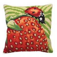 Ladybird On Strawberry Chunky Cross Stitch Cushion Front Kit