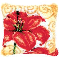 Single Poppy Flower Latch Hook cushion Front kit 16x16""