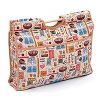 EMPTY Sewing Accesories on beige design knitting bag with wooden