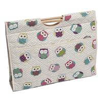Knitting & Sewing Bag with Wooden Handles - Funny Owls