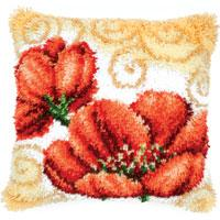 Gold Swirl Poppies Latch Hook cushion Front kit 16x16""