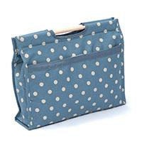 EMPTY Grey polkadot design knitting bag with wooden handles