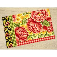 Roses & Swirls chunky yarn cross stitch rug kit - 75x50cm