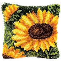 Bright Sunflower Latch Hook Cushion Front Kit Vervaco