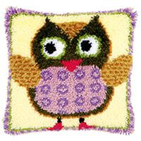 Miss Owl Latch Hook Cushion Front Kit 40x40cm