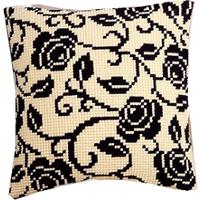 Blackworks Roses Chunky Cross Stitch Cushion Front Kit
