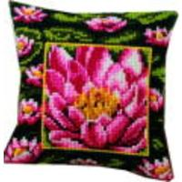 Single Pink Waterlily, Vervaco Cushion Front Tapestry Kit