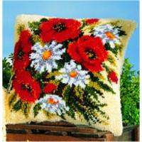 Poppies & Daisies Latch Hook Cushion Front Kit