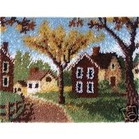 "Country Cottages Latch hook kit. 20x27"" by Caron"