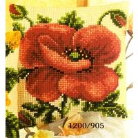 Oriental Poppy - Vervaco Chunky Cross Stitch Cushion Front Kit