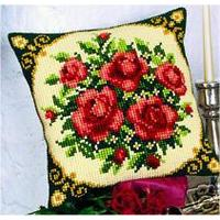Red Rose Bouquet, Chunky Cross Stitch Cushion Front Kit
