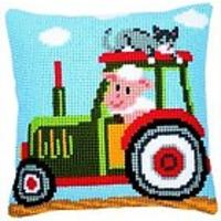 Tractor Chunky yarn cross stitch cushion front kit