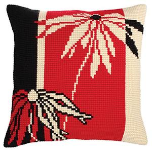 Red & Black Chunky Cross Stitch Cushion Front Kit