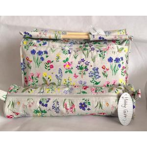 Matching Knitting Bags - Spring Garden - Wooden Handled Bag &