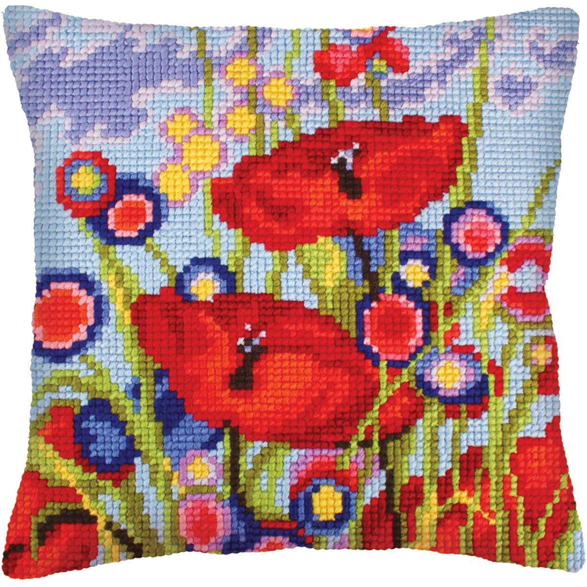 Red Poppies Chunky Cross Stitch Cushion Front Kit