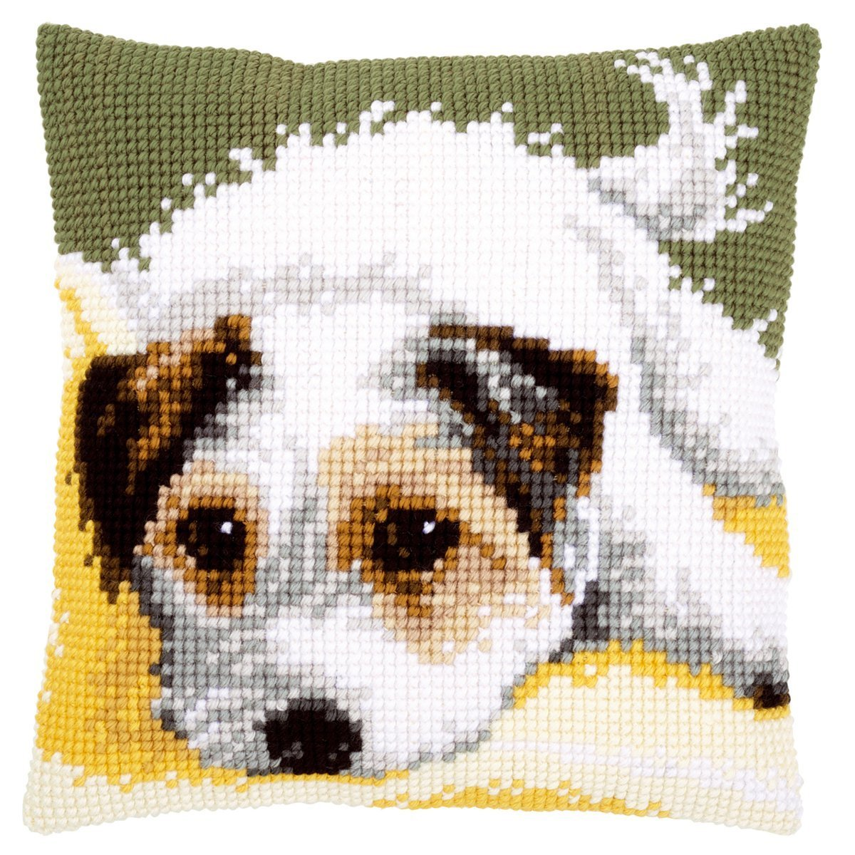 Jack Russell Puppy Chunky Cross Stitch Cushion Front Kit