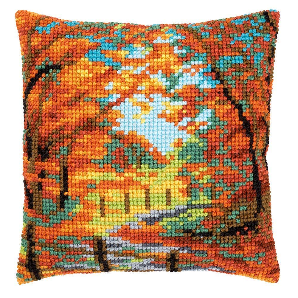 Autumn Landscape Chunky Cross Stitch Cushion Front Kit 40x40cm