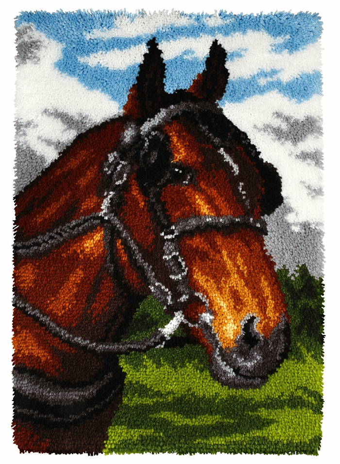 Horse Latch Hook Rug Making Kit. Orchidea, 50x74cm Pr