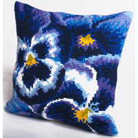 Winter Pansy Design Chunky Cross Stitch Cushion Front Kit