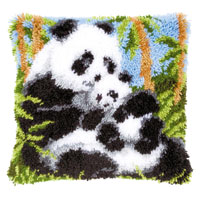 Pandas Latch Hook Cushion Front Kit Vervaco 40x40cm