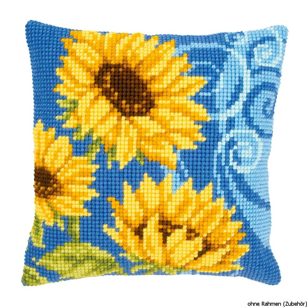 Sunflowers on Blue Chunky Cross Stitch Cushion Front Kit