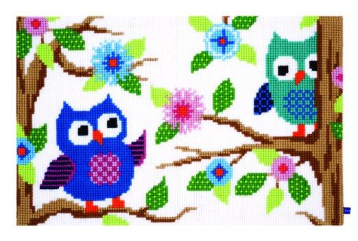 Owl Talk, Chunky Cross Stitch Rug Making Kit 75x50cm
