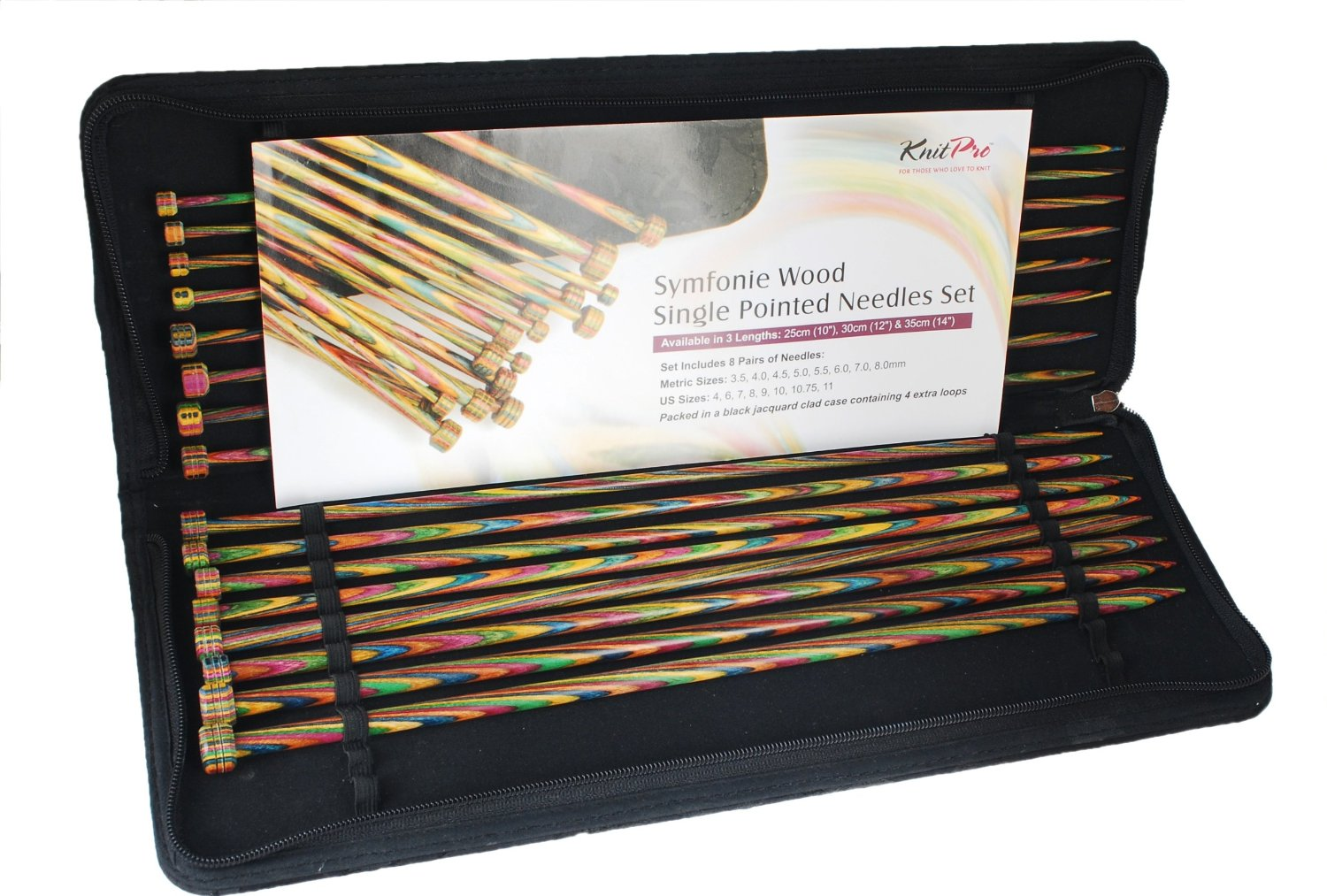 KnitPro Symfonie Wood Single Pointed Needles Set - 35cm long