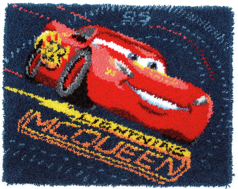 Latch Hook Rug Lightning Mcqueen Screeching Tyres Disney Kit