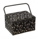 Premium Large Sewing Basket - Embroidered Leaf on Black