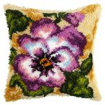Pansy Latch Hook Cushion Front Kit. Orchidea, 40x40cm Print