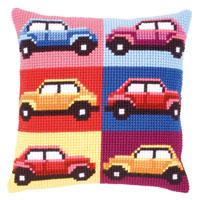 Cars - Autos Chunky Cross Stitch Cushion Front Kit 40x40cm