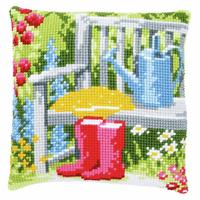 Wellies In My Garden ~  Chunky Cross Stitch Cushion Front Kit