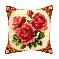 Red Roses Chunky Cross Stitch Cushion Front Kit 40x40cm