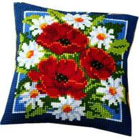 Daisy & Poppy Posy cushion front Kit By Vervaco