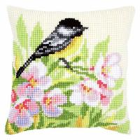 Tit & Blossoms Chunky Cross Stitch Cushion Front Kit