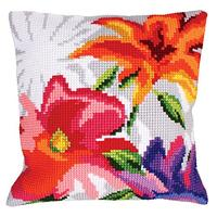 Stylish Flowers Chunky Cross Stitch Cushion Front Kit