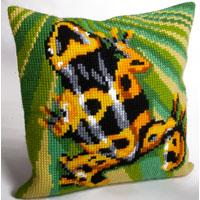 Orange Tree Frog Chunky Cross Stitch Cushion Front Kit